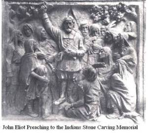 MONUMENT DEPICTING HIS PREACHING TO THE INDIANS OF NEW ENGLAND